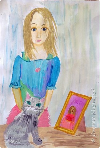 """Здравствуйте! Представляем работу Василины в номинации """"Животные и дети"""".  Девочка решила изобразить себя со своей любимицей. фото 1"""