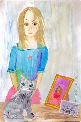 """Здравствуйте! Представляем работу Василины в номинации """"Животные и дети"""".  Девочка решила изобразить себя со своей любимицей. фото 6"""
