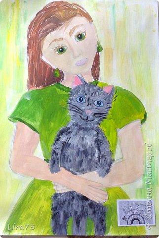 """Здравствуйте! Представляем на конкурс работу Маши. Она очень любит рисовать и с радостью согласилась принять участие.  На рисунке она изобразила себя со своим котёнком и назвала работу """"Пушистый комочек"""" фото 4"""