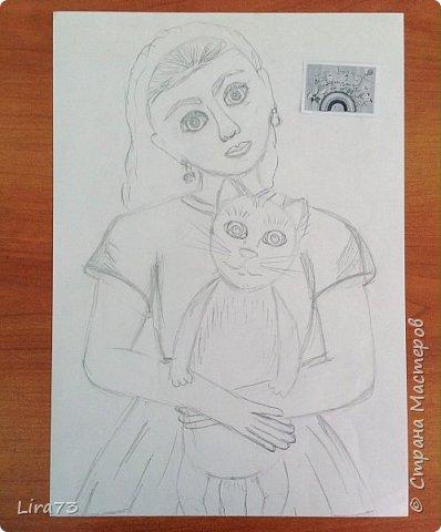 """Здравствуйте! Представляем на конкурс работу Маши. Она очень любит рисовать и с радостью согласилась принять участие.  На рисунке она изобразила себя со своим котёнком и назвала работу """"Пушистый комочек"""" фото 2"""
