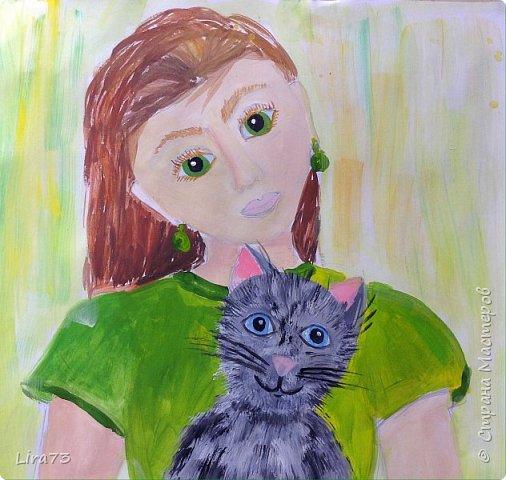 """Здравствуйте! Представляем на конкурс работу Маши. Она очень любит рисовать и с радостью согласилась принять участие.  На рисунке она изобразила себя со своим котёнком и назвала работу """"Пушистый комочек"""" фото 7"""