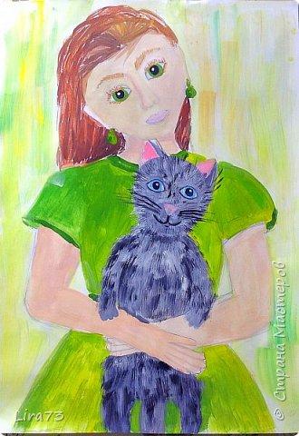 """Здравствуйте! Представляем на конкурс работу Маши. Она очень любит рисовать и с радостью согласилась принять участие.  На рисунке она изобразила себя со своим котёнком и назвала работу """"Пушистый комочек"""" фото 1"""