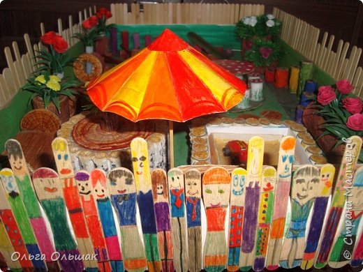 Здравствуйте мастера и мастерицы!Представляем вашему вниманию   макет детской спортивно - игровой площадки «Пеньки». фото 9