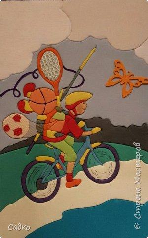"""Здравствуйте, уважаемые жители Страны мастеров! Наша конкурсная работа на тему """"Спорт и дети"""". Панно выполнено в технике кинусайга. Над ним трудились дети подготовительной к школе группы. фото 1"""