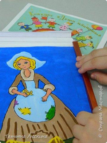 """Золушка""- героиня сказки Шарля Перо, нарисована на ткани акрилом. фото 9"