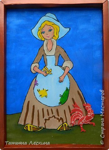 """Золушка""- героиня сказки Шарля Перо, нарисована на ткани акрилом. фото 1"