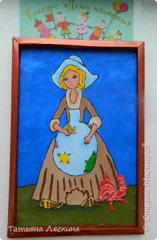 """Золушка""- героиня сказки Шарля Перо, нарисована на ткани акрилом. фото 13"