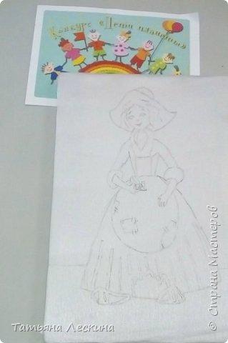 """Золушка""- героиня сказки Шарля Перо, нарисована на ткани акрилом. фото 4"