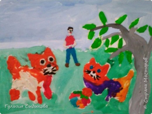 Хочу представить на конкурс своих любимых , веселых котят. Почему именно они, потому что они всегда рядом! На рисунке: Я им несу молочко. фото 1