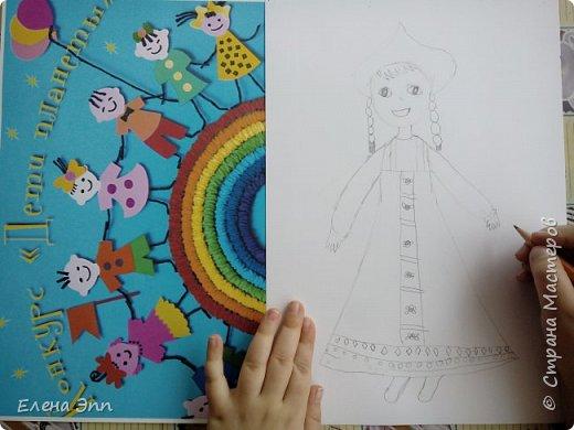Даша решила нарисовать девочку в русском народном костюме. фото 2