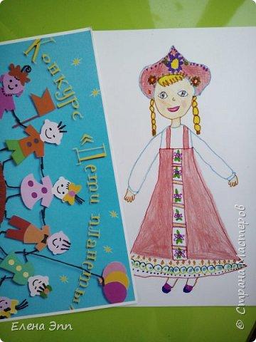 Даша решила нарисовать девочку в русском народном костюме. фото 3