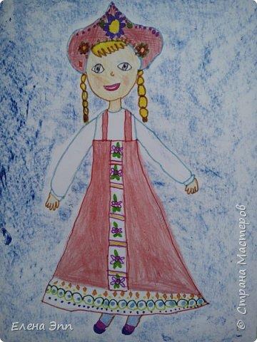 Даша решила нарисовать девочку в русском народном костюме. фото 4