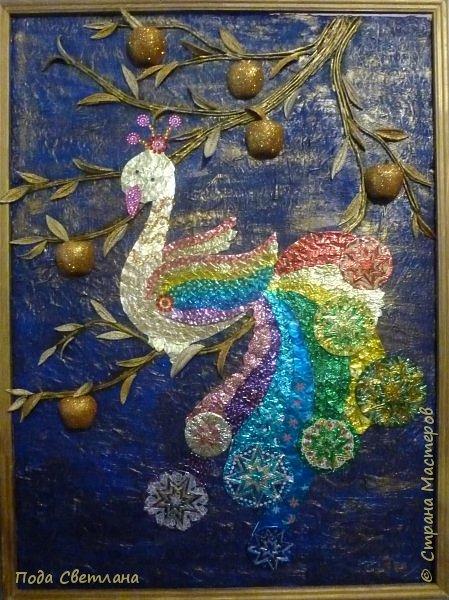 """""""Жар-птица в волшебном саду""""-творческий проект с использованием бросового материала.Одна из любимых сказок Алексея Толстого  про  жар птицу. Сколько изданий и сколько образов создают художники сказочной птицы....Наша птица горит, как жар так переливаются фантики из которых она сделана... И каким цветом должна быть волшебная птица??? Посмотрите, как горят все цвета радуги...Может наша жар птица ещё и Радуга...если внимательно присмотреться к её крыльям...взмахнёт и ...полетит раскрашивать , украшать мир сказки и фантазии...  фото 17"""