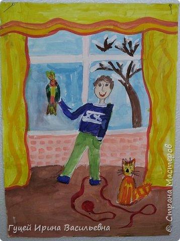 """Здравствуйте Страна Мастеров! Я преподаватель детского дворового клуба """"Ак желкен"""", в переводе с казахского языка """"Белый парус"""", отправляю работы своих питомцев на ваш замечательный конкурс """"Животные и дети"""". Считаю, что отношение к животным - главный показатель человечности.  Представляю работу Братусь Влада """"Веселая компания"""", этот рисунок его мечта. Он очень хочет, чтобы у него жили попугай и рыжий кот, но бабушка Влада говорит, что от них много шума. фото 1"""