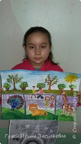 """Здравствуйте Страна мастеров!  Представляю работу своей ученицы Анель """"Мы с мамой в зоопарке"""". Самые незабываемые впечатления произвели на Анель животные, которых она увидела в зоопарке. фото 7"""
