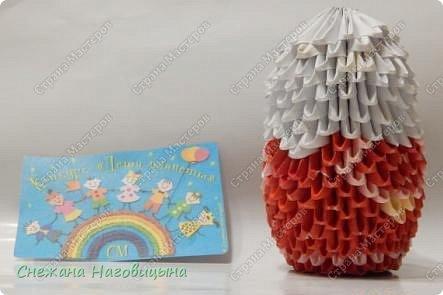 Это наша попытка изобразить матрешку в удмуртском костюме в технике модульного оригами. фото 10
