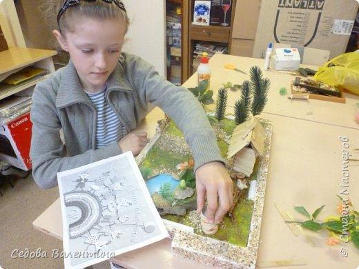 """Творческий проект """"Мой прекрасный сад"""", выполнен Демченко Алёной, ученицей 2 класса. Это макет, где используются бросовые материалы и декоративные растения, камни, песок, деревянные палочки...Нам хотелось создать маленький уютный садик, в центре макета стоит деревянный домик, есть небольшой пруд, альпийская горка, можно босиком ходит по траве и дорожке посыпанной мелким песком. Под елью стоит деревянная скамейка,на которой можно отдохнуть в жару.По саду ходят курочки и петушок утром рано сообщает о начале нового дня своим громким кукареканьем... фото 9"""