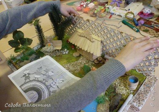 """Творческий проект """"Мой прекрасный сад"""", выполнен Демченко Алёной, ученицей 2 класса. Это макет, где используются бросовые материалы и декоративные растения, камни, песок, деревянные палочки...Нам хотелось создать маленький уютный садик, в центре макета стоит деревянный домик, есть небольшой пруд, альпийская горка, можно босиком ходит по траве и дорожке посыпанной мелким песком. Под елью стоит деревянная скамейка,на которой можно отдохнуть в жару.По саду ходят курочки и петушок утром рано сообщает о начале нового дня своим громким кукареканьем... фото 12"""
