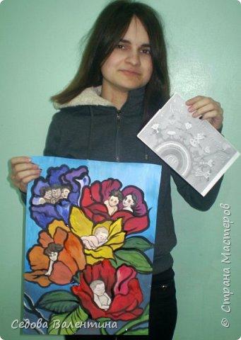 """Работа """"Дети - цветы жизни"""" выполнена Шараповой Надей на формате А 3 гуашью. Недавно Надя принимала участие в конкурсе детского рисунка """" Царство цветов"""", где она заняла первое место и это вдохновило её на создание этой работы. В сказке Ганса Христиана Андерсена """"Дюймовочка"""" в цветах живут эльфы.  Когда смотришь на маленьких детей, то кажется, что они и есть эти эльфы из сказочных цветов. фото 7"""