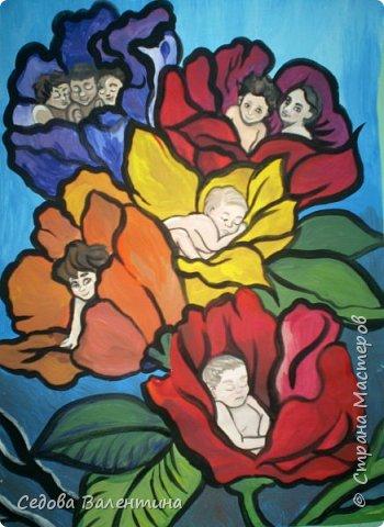 """Работа """"Дети - цветы жизни"""" выполнена Шараповой Надей на формате А 3 гуашью. Недавно Надя принимала участие в конкурсе детского рисунка """" Царство цветов"""", где она заняла первое место и это вдохновило её на создание этой работы. В сказке Ганса Христиана Андерсена """"Дюймовочка"""" в цветах живут эльфы.  Когда смотришь на маленьких детей, то кажется, что они и есть эти эльфы из сказочных цветов. фото 1"""