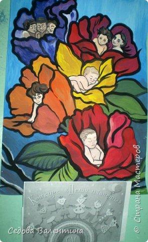 """Работа """"Дети - цветы жизни"""" выполнена Шараповой Надей на формате А 3 гуашью. Недавно Надя принимала участие в конкурсе детского рисунка """" Царство цветов"""", где она заняла первое место и это вдохновило её на создание этой работы. В сказке Ганса Христиана Андерсена """"Дюймовочка"""" в цветах живут эльфы.  Когда смотришь на маленьких детей, то кажется, что они и есть эти эльфы из сказочных цветов. фото 8"""