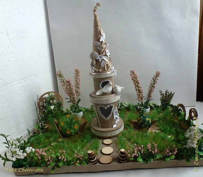 """""""Птичий рай""""- -экологический уголок. В Москве в Ботаническом саду есть японский сад - кусочек Японии-нeбoльшoй yгoлoк типичнoгo для Cтpaны Bocxoдящeгo coлнцa лaндшaфтa. Мы смотрели на цветущую сакуру , ходили по дорожкам, любовались мостиками и  pyчьём c кacкaдoм вoдoпaдoв....Захотелось сделать свой уголок...весенний, птичий...  фото 1"""