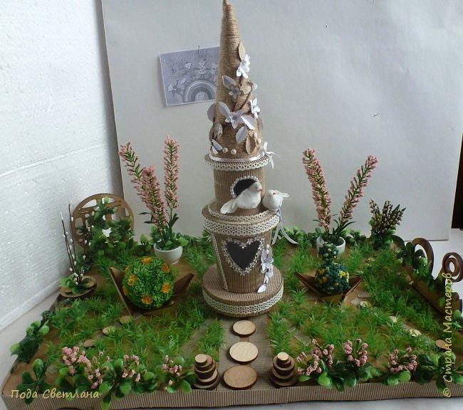 """""""Птичий рай""""- -экологический уголок. В Москве в Ботаническом саду есть японский сад - кусочек Японии-нeбoльшoй yгoлoк типичнoгo для Cтpaны Bocxoдящeгo coлнцa лaндшaфтa. Мы смотрели на цветущую сакуру , ходили по дорожкам, любовались мостиками и  pyчьём c кacкaдoм вoдoпaдoв....Захотелось сделать свой уголок...весенний, птичий...  фото 17"""
