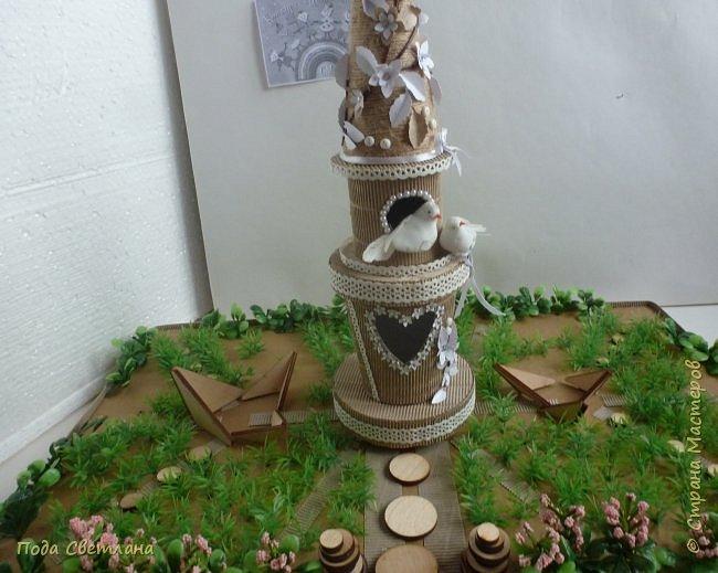 """""""Птичий рай""""- -экологический уголок. В Москве в Ботаническом саду есть японский сад - кусочек Японии-нeбoльшoй yгoлoк типичнoгo для Cтpaны Bocxoдящeгo coлнцa лaндшaфтa. Мы смотрели на цветущую сакуру , ходили по дорожкам, любовались мостиками и  pyчьём c кacкaдoм вoдoпaдoв....Захотелось сделать свой уголок...весенний, птичий...  фото 15"""