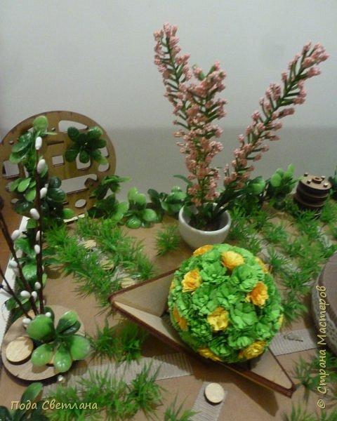 """""""Птичий рай""""- -экологический уголок. В Москве в Ботаническом саду есть японский сад - кусочек Японии-нeбoльшoй yгoлoк типичнoгo для Cтpaны Bocxoдящeгo coлнцa лaндшaфтa. Мы смотрели на цветущую сакуру , ходили по дорожкам, любовались мостиками и  pyчьём c кacкaдoм вoдoпaдoв....Захотелось сделать свой уголок...весенний, птичий...  фото 19"""