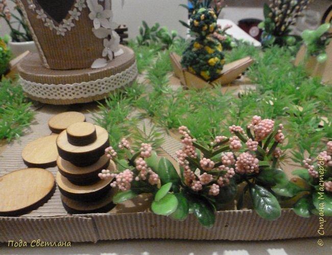 """""""Птичий рай""""- -экологический уголок. В Москве в Ботаническом саду есть японский сад - кусочек Японии-нeбoльшoй yгoлoк типичнoгo для Cтpaны Bocxoдящeгo coлнцa лaндшaфтa. Мы смотрели на цветущую сакуру , ходили по дорожкам, любовались мостиками и  pyчьём c кacкaдoм вoдoпaдoв....Захотелось сделать свой уголок...весенний, птичий...  фото 18"""
