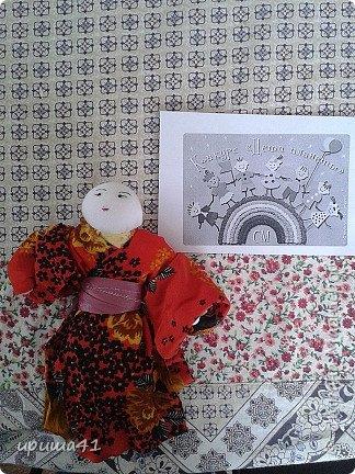 Мне очень нравится Япония своей удивительной культурой. Поэтому я захотела сшить на конкурс куклу-девочку в японском традиционном костюме.  фото 4