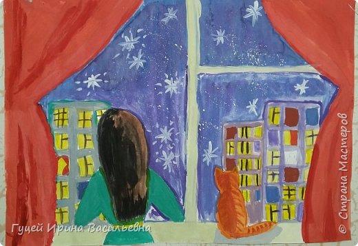 """Представляю еще одну творческую девочку Абай Меруе с рисунком """"Мир за окном"""". Какой интересный вечер и как сосредоточенно и увлеченно смотрят в окно две подружки. фото 1"""