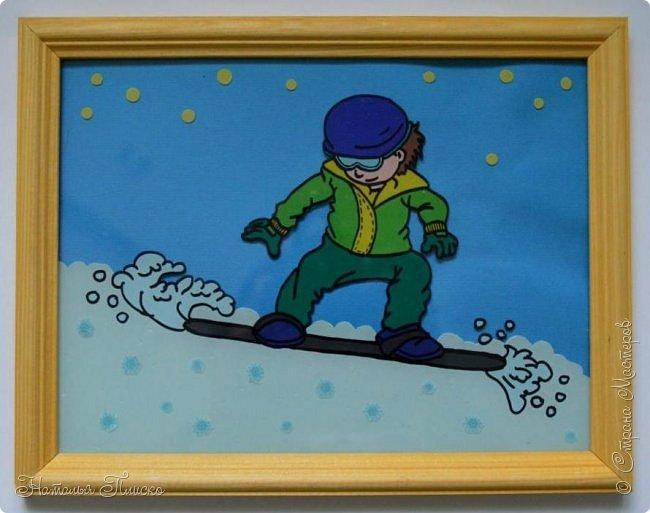 """Всем привет!!! Представляю вашему вниманию Ильюшину конкурсную работу. С темой мы с ним сразу определились - выбрали спорт. Но сначала у нас была другая задумка - сделать подарок тренеру по брейк-дансу, потом Ильюша вспомнил, что собирается в следующем году на хоккей, решил изобразить себя хоккеистом... в итоге мы остановились на сноубордисте))))) Есть у Ильи заветная мечта - научиться кататься на нём, а чтобы стать ближе к мечте - """"нарисовал"""" себя опытным сноубордистом, бороздящим снежные волны)))))  фото 1"""