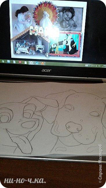 Здравствуйте, дорогие мастерицы и мастера! Сегодня я сделала свою работу , картину  с изображением собак породы Далматин, мама и щенок. Я выбрала эту работу, так как следующий год- год собаки, и хочется, чтобы собака в наступающем году всем принесла успех, радость, сопутствовала удачей во всех делах и была к нам всем доброй и дружелюбной))).Эти собаки очень дружелюбны,грациозны,умные, очень любят малышей-людей, любят общение с человеком, без общения они сановятся замкнутыми и раздражительными. Очень энергичные, подвижные, по-этому у меня щенок изображон таким озорным, непоседой, а мама за ним неукоснительно следит фото 2