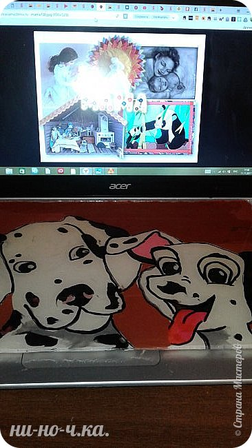 Здравствуйте, дорогие мастерицы и мастера! Сегодня я сделала свою работу , картину  с изображением собак породы Далматин, мама и щенок. Я выбрала эту работу, так как следующий год- год собаки, и хочется, чтобы собака в наступающем году всем принесла успех, радость, сопутствовала удачей во всех делах и была к нам всем доброй и дружелюбной))).Эти собаки очень дружелюбны,грациозны,умные, очень любят малышей-людей, любят общение с человеком, без общения они сановятся замкнутыми и раздражительными. Очень энергичные, подвижные, по-этому у меня щенок изображон таким озорным, непоседой, а мама за ним неукоснительно следит фото 4