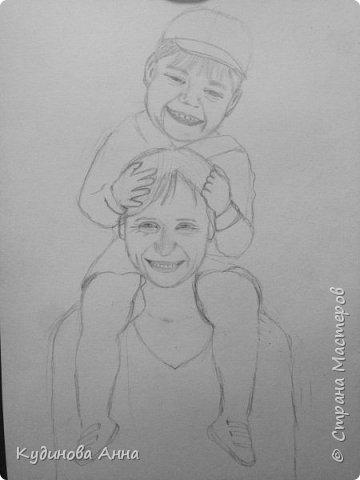 Всем добрый вечер! :)  Представляю вам свою работу. Портрет моей мамы с внуком.  фото 3