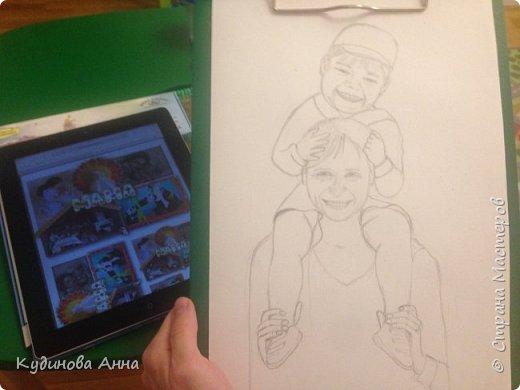 Всем добрый вечер! :)  Представляю вам свою работу. Портрет моей мамы с внуком.  фото 4