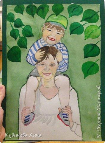 Всем добрый вечер! :)  Представляю вам свою работу. Портрет моей мамы с внуком.  фото 7