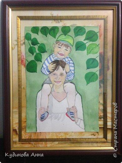 Всем добрый вечер! :)  Представляю вам свою работу. Портрет моей мамы с внуком.  фото 1