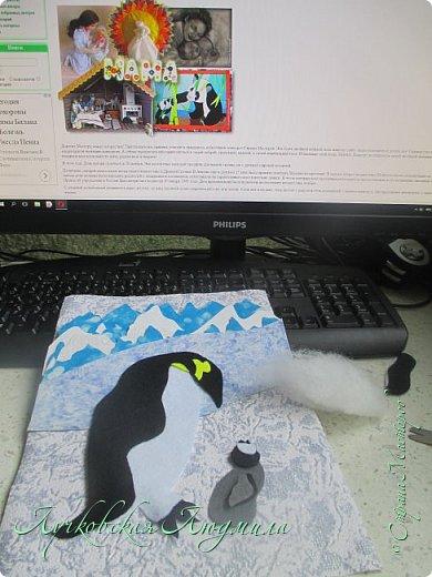 """Спасибо за конкурс и возможность себя проявить. Представляю свою картину """"Пингвины на севере"""". уж очень они мне нравятся, а тут такая возможность! Когда фотографировала готовую работу подумала, что ее можно будет отнести в сад....к Новому году, обязательно загадают сделать поделку. В процессе выкладывания фотографий решила сделать маленький МК. может кому пригодится. фото 6"""