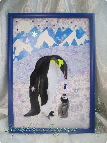 """Спасибо за конкурс и возможность себя проявить. Представляю свою картину """"Пингвины на севере"""". уж очень они мне нравятся, а тут такая возможность! Когда фотографировала готовую работу подумала, что ее можно будет отнести в сад....к Новому году, обязательно загадают сделать поделку. В процессе выкладывания фотографий решила сделать маленький МК. может кому пригодится. фото 1"""