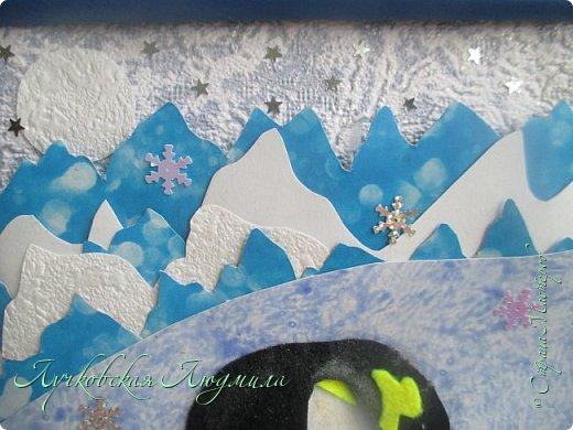 """Спасибо за конкурс и возможность себя проявить. Представляю свою картину """"Пингвины на севере"""". уж очень они мне нравятся, а тут такая возможность! Когда фотографировала готовую работу подумала, что ее можно будет отнести в сад....к Новому году, обязательно загадают сделать поделку. В процессе выкладывания фотографий решила сделать маленький МК. может кому пригодится. фото 9"""