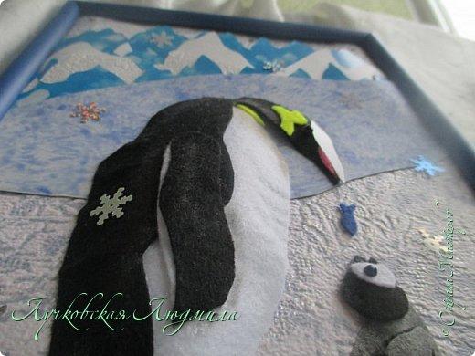 """Спасибо за конкурс и возможность себя проявить. Представляю свою картину """"Пингвины на севере"""". уж очень они мне нравятся, а тут такая возможность! Когда фотографировала готовую работу подумала, что ее можно будет отнести в сад....к Новому году, обязательно загадают сделать поделку. В процессе выкладывания фотографий решила сделать маленький МК. может кому пригодится. фото 11"""