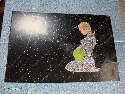 Здравствуйте! Представляю на конкурс ещё одну свою работу—«МАМА—ВСЕЛЕННАЯ ДЛЯ МАЛЫША» Сначала то я хотела сделать Мать Вселенную—поэтому и фон взяла из космического набора. но пока делала как то она у меня стала женщиной ожидающей ребёнка, от этого я и стала  отталкиваться в работе. Ведь для не родившегося малыша мама и есть вся Вселенная—она бережёт и заботится с самого начала и потом, когда малыш появился на свет— изначально именно мама весь мир для крохи.  фото 5