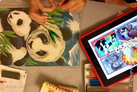 Знакомьтесь, мама панда и её дочка - гости из далекого Китая, заглянули к нам на праздник! Работа выполнена в технике обратной аппликации из пластилиновых горошинок. фото 3
