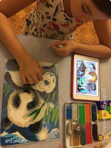 Знакомьтесь, мама панда и её дочка - гости из далекого Китая, заглянули к нам на праздник! Работа выполнена в технике обратной аппликации из пластилиновых горошинок. фото 4