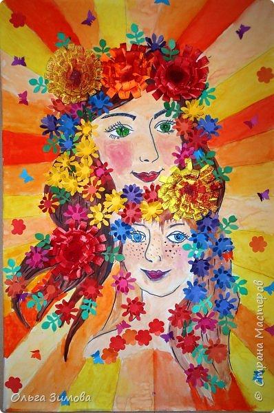 Мама и дочка — они так похожи! Мама и дочка — две капельки солнца!( сл. Елены Плотниковой) Мы очень любим своих мамочек потому что все, что окружает вас в этом мире, начинается с мамы. Свою работу мы хотим посвятить самому дорогому на свете человеку- маме .Мама и дочка  какое это счастье. Это вечный праздник, вечная весна. Это море улыбок это море цветов....  фото 1
