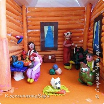 Такой дом построили девочки 4 класса, Катя и Оксана. Семейная сценка из жизни многих семей. Дома мама и её дети. Как хорошо, когда дома мир и покой. И есть своя крыша. фото 11