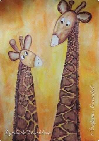 Аня очень любит животных, читает про их жизнь книги и много рисует. Аня изобразила маму- жирафа и жирафёнка-дочку. фото 1