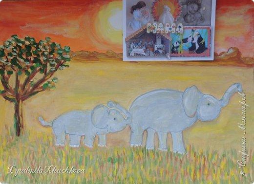 """Номинация """"Язык живой природы"""" понравилась сразу и безоговорочно! Ведь тема мамы с малышом, да ещё в мире животных, так близка и интересна детям. На конкурс Георгий решил нарисовать слониху со слонёнком.  фото 4"""
